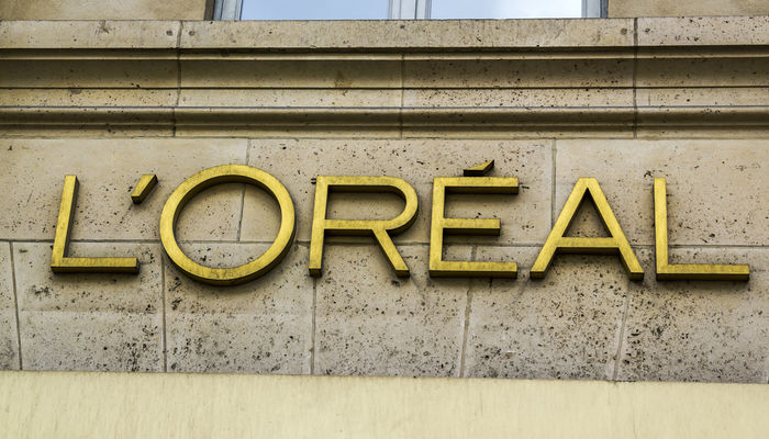 Close-up of the L'Oréal logo outside the brand's store in Paris, France