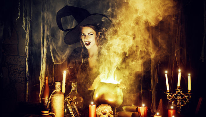 Evil witch making a magic potion