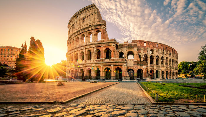 The Colosseum in Rome at sunrise