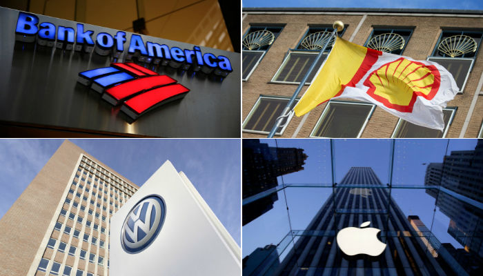 Company logos of Bank of America, Royal Dutch Shell, Volkswagen Group and Apple