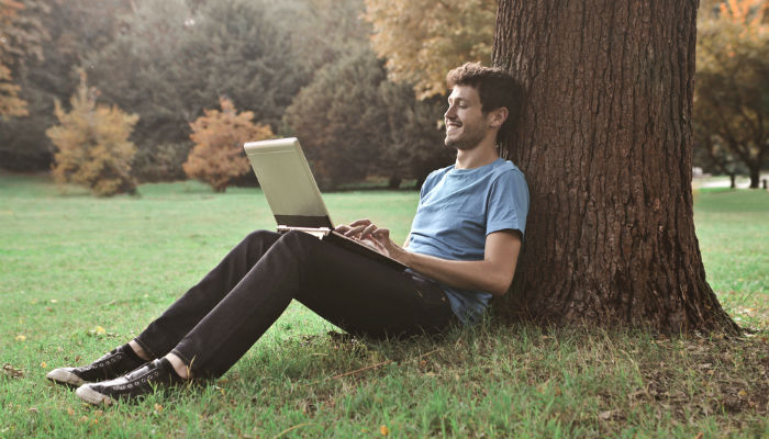 A young man sitting under a tree in a park and working on his laptop