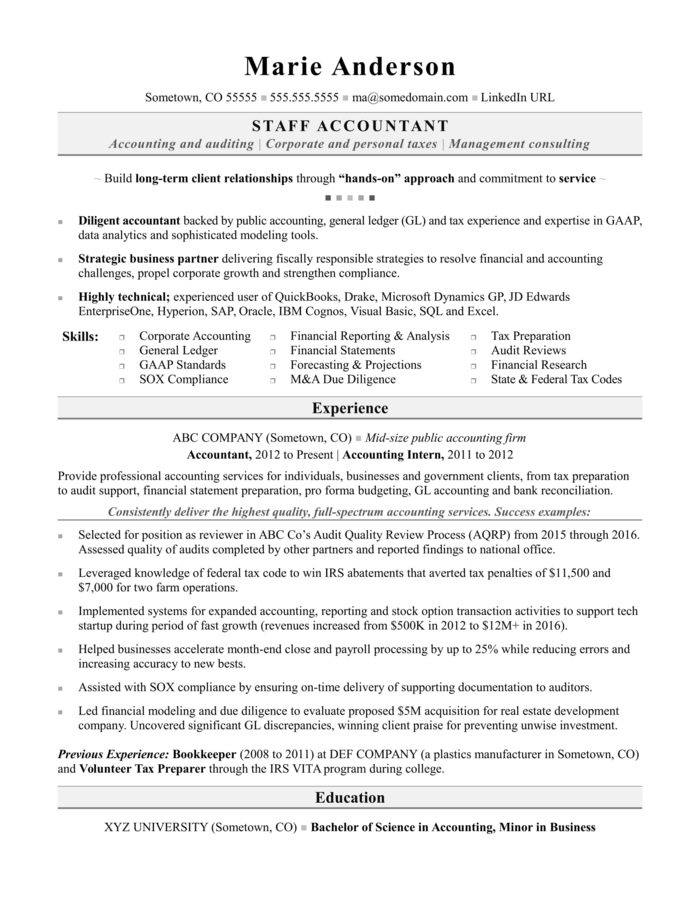 The Best Accountant Cv And Resume Examples