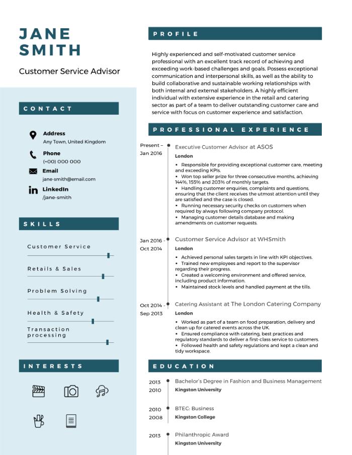 Customer service CV example