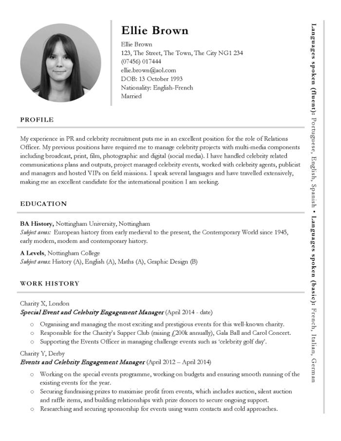 International CV example
