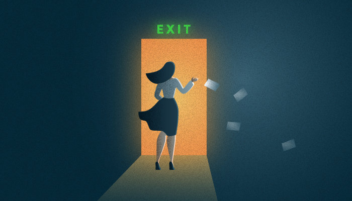 Illustration of a woman exiting an open door