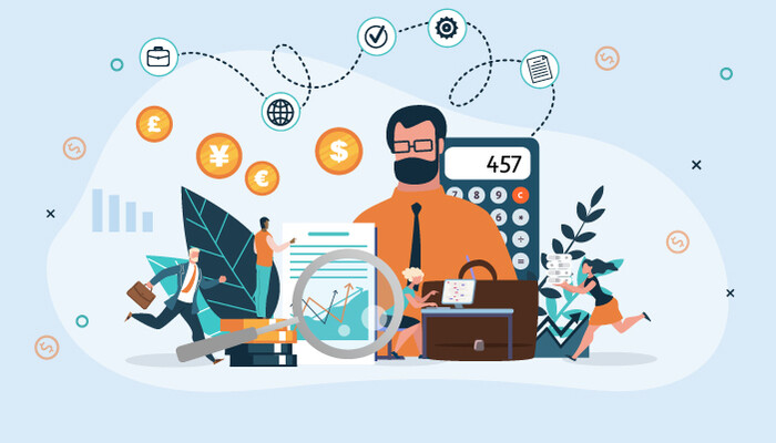 Illustration of a male accountant surrounded by various financial icons
