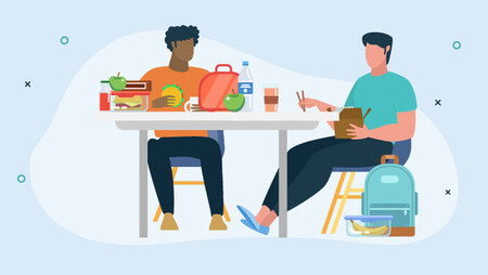 Illustration of two men with bags eating lunch