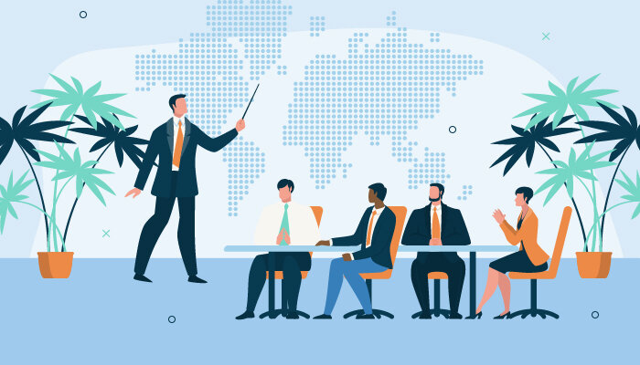 Illustration of a man leading a team meeting and pointing at a world map