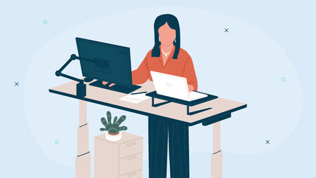 Illustration of a woman working at her standing desk
