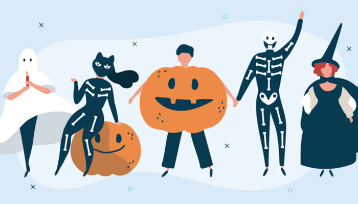 Illustration of people wearing Halloween costumes