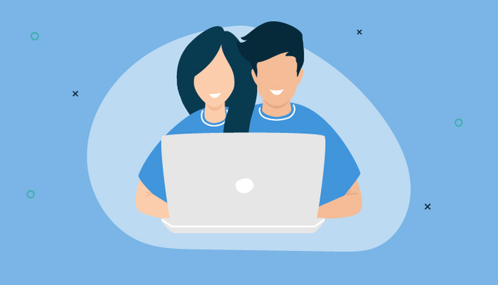 Illustration of two conjoined people sharing a laptop