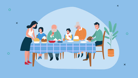 Illustration of a family sitting at a table having a feast