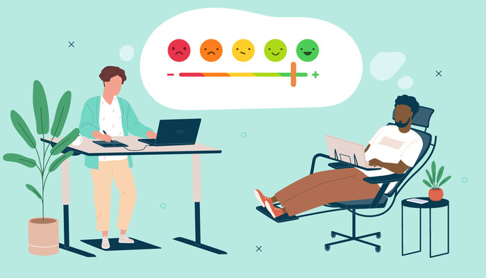 Illustration of two employees doing work, one standing by a desk and the other lying down on a chair with a happiness scale in a thought bubble