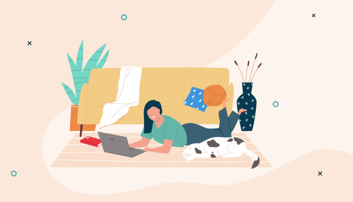 illustration of a woman typing on her laptop while lying on a carpet in her living room next to a dog