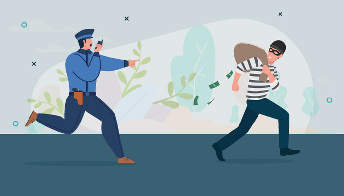 Illustration of a police officer chasing a burglar