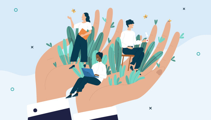 Illustration of two giant hands protecting happy, productive workers