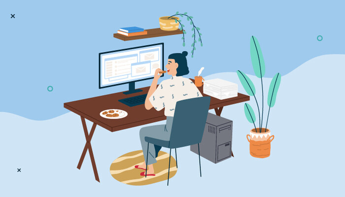 Illustration of a woman working on her computer from home