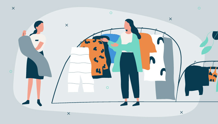 Illustration of two women, a retail assistant and a customer, in front of a clothes rack