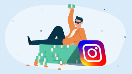 Illustration of a man wearing black sunglasses lying on a pile of money and  the Instagram logo tilted on it on the right side