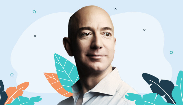 Illustration of a Jeff Bezos image against a blue background