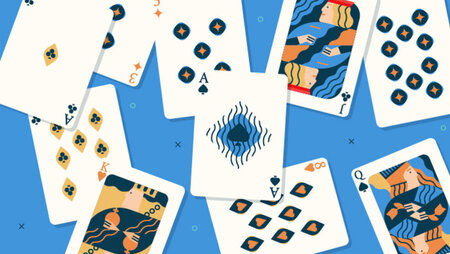 Illustration of various playing cards against a blue background