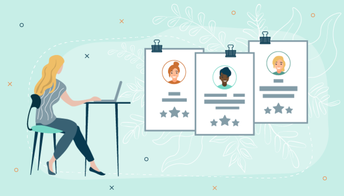 Illustration of a woman reviewing candidate profiles