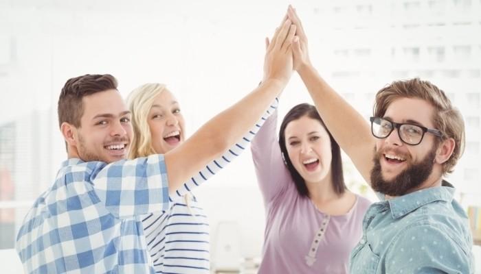 people celebrating accomplishments