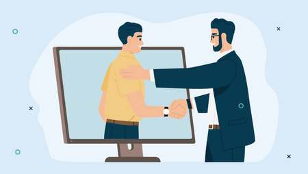 Illustration of a man shaking the hand of a man inside a computer screen