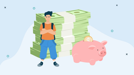 Illustration of a young boy standing in front of wads of cash and a large piggy bank