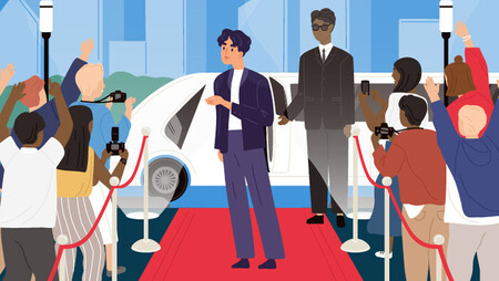 Illustration of a male celebrity walking down the red carpet among fans