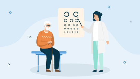 Illustration of a female optometrist with an older male patient