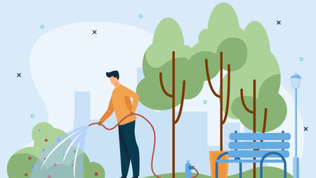 Illustration of a man watering a bush in a park